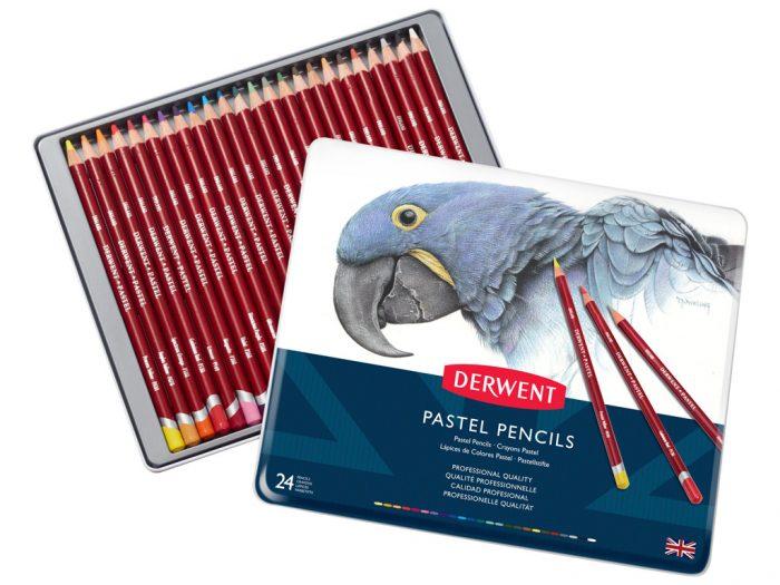 Pastel pencils Derwent in metal box - 1/3