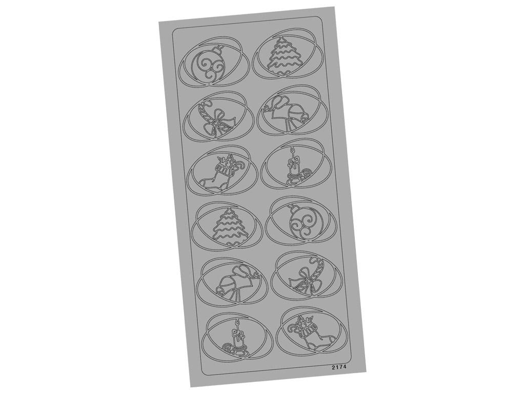 Outline Sticker 2174 Silver Christmas Figures blister