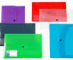 Envelope with snap stud Viquel Propyglass A4 with business card holder transparent assorted