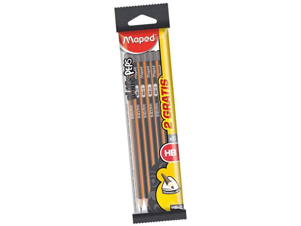 Pliiats BlackPeps kolmekandiline HB 4+2tk blistril