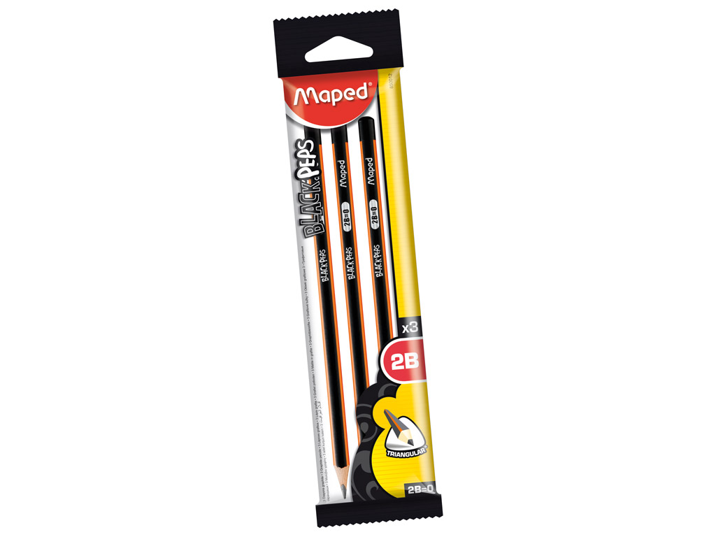Graphite pencil BlackPeps 2B 3pcs blister