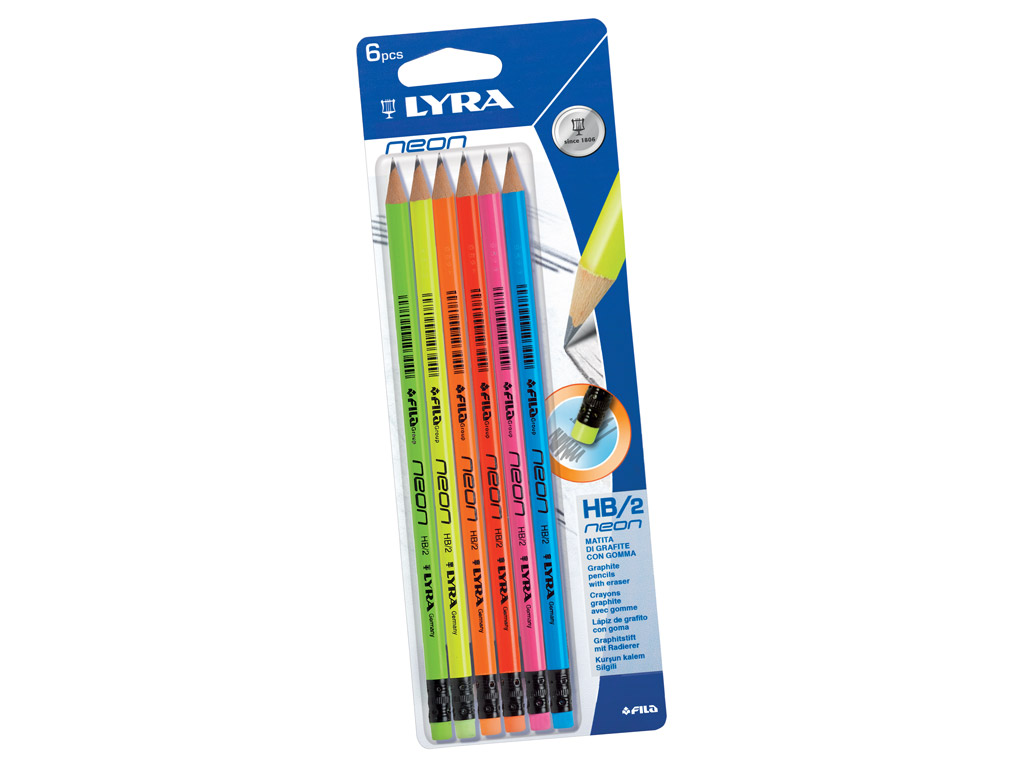 Graphite Pencil Lyra Neon HB 6pcs with eraser blister