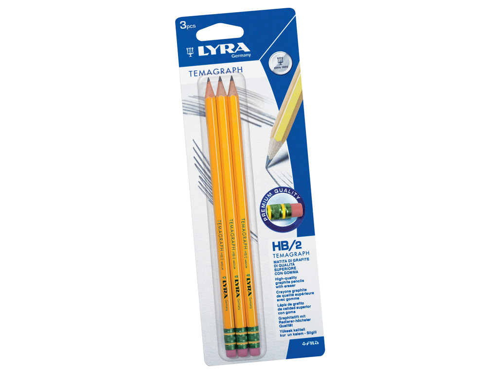 Graphite Pencil Lyra Temagraph 3xHB with eraser on blister
