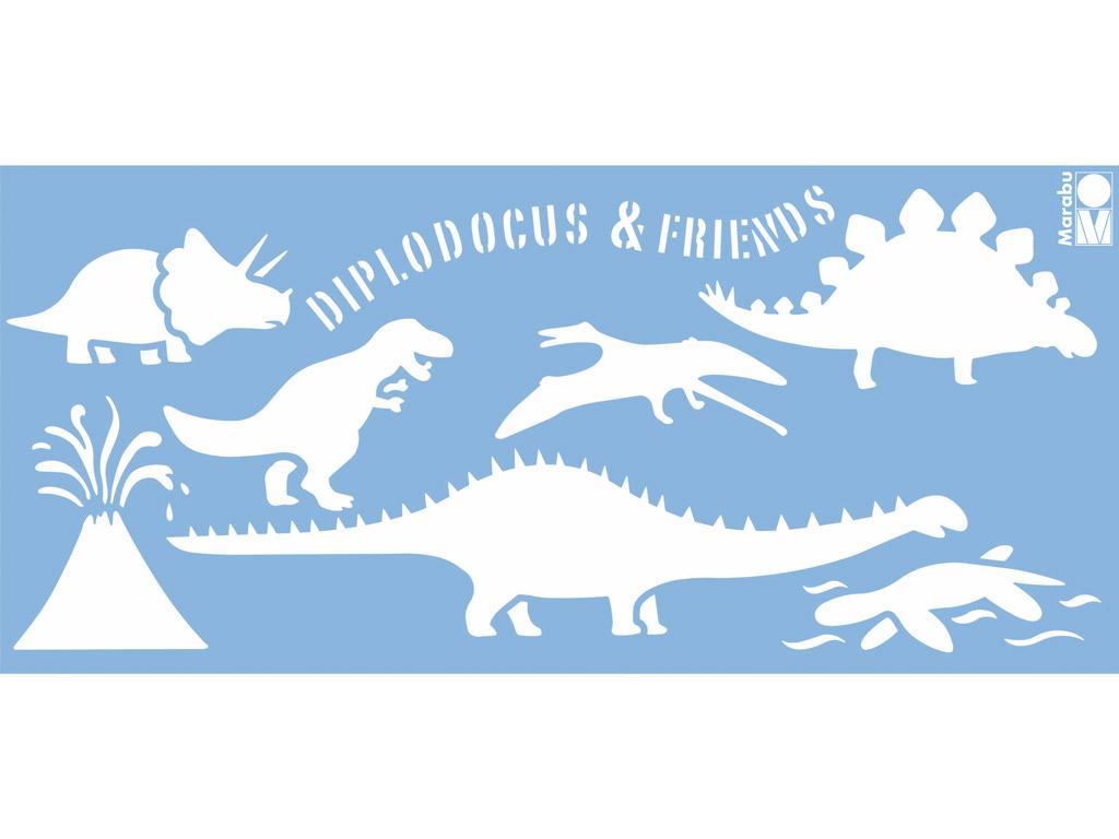Šablons Marabu 15x33cm Dinos