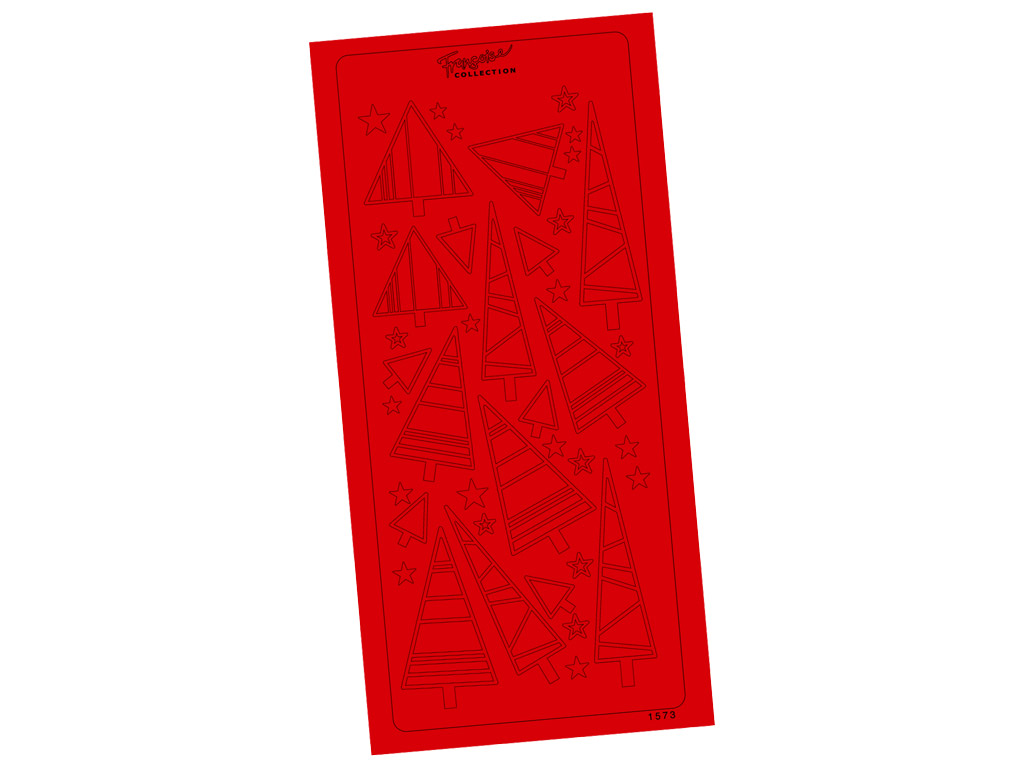 Outline Sticker 1573 Red Simple Christmas Trees blister