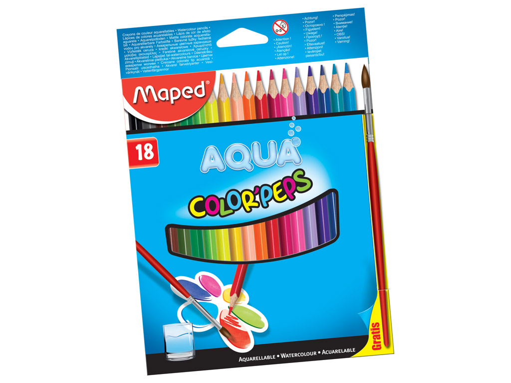 Akvarellpliiats ColorPeps 18tk + pintsel