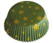 Baking cup 50x25mm Golden Christmas green 60pcs blister