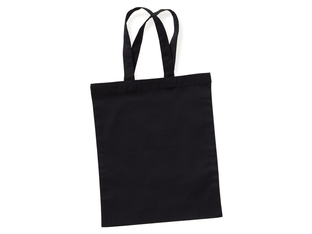 Medvilninis maišelis 24x28cm trumpos rankenos black
