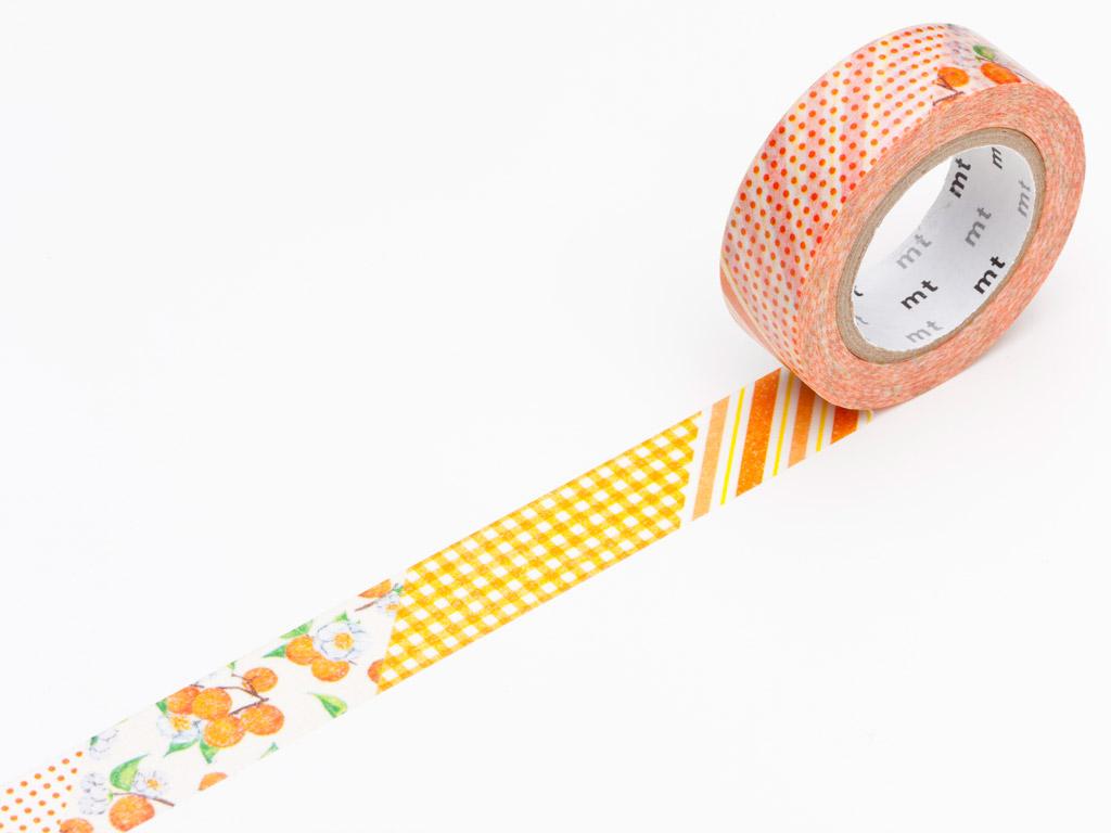 Washi dekoratyvi lipni juostelė mt ex 15mmx10m flower orange