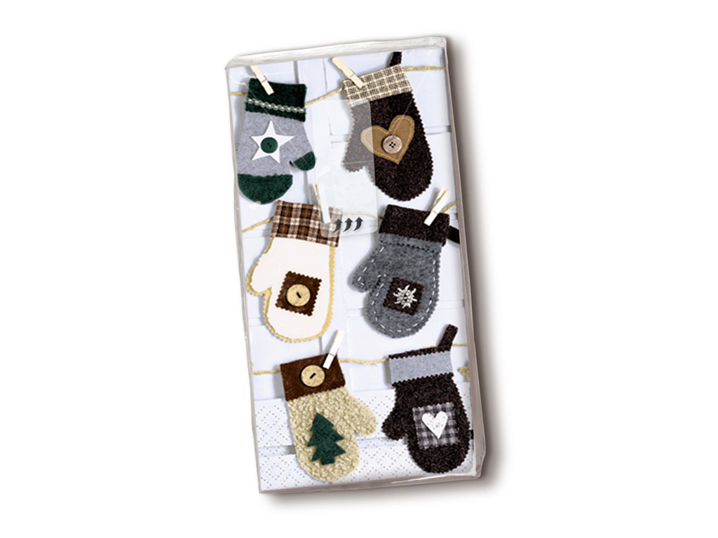 Handkerchiefs 10pcs 4-ply Xmas Mitten