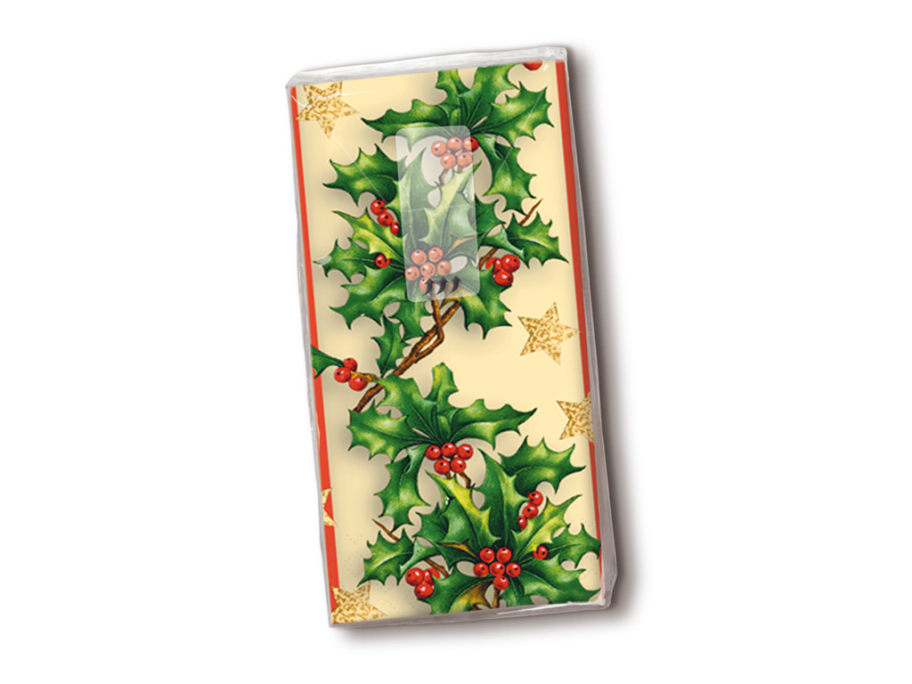 Handkerchiefs 10pcs 4-ply Holly Border