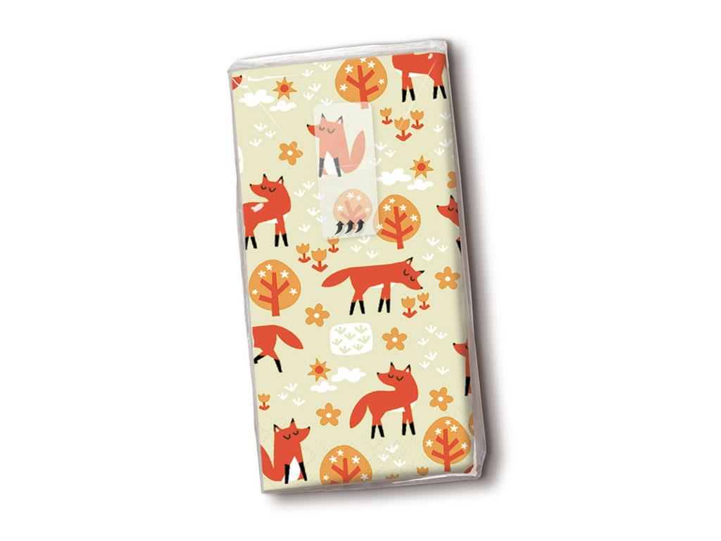 Papīra kabatlakatiņi 10gab. 4-slāņu Foxes
