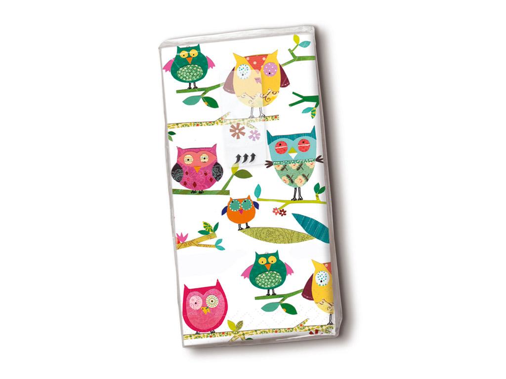Taskurätikud 10tk 4 kihiline Colourful Owls