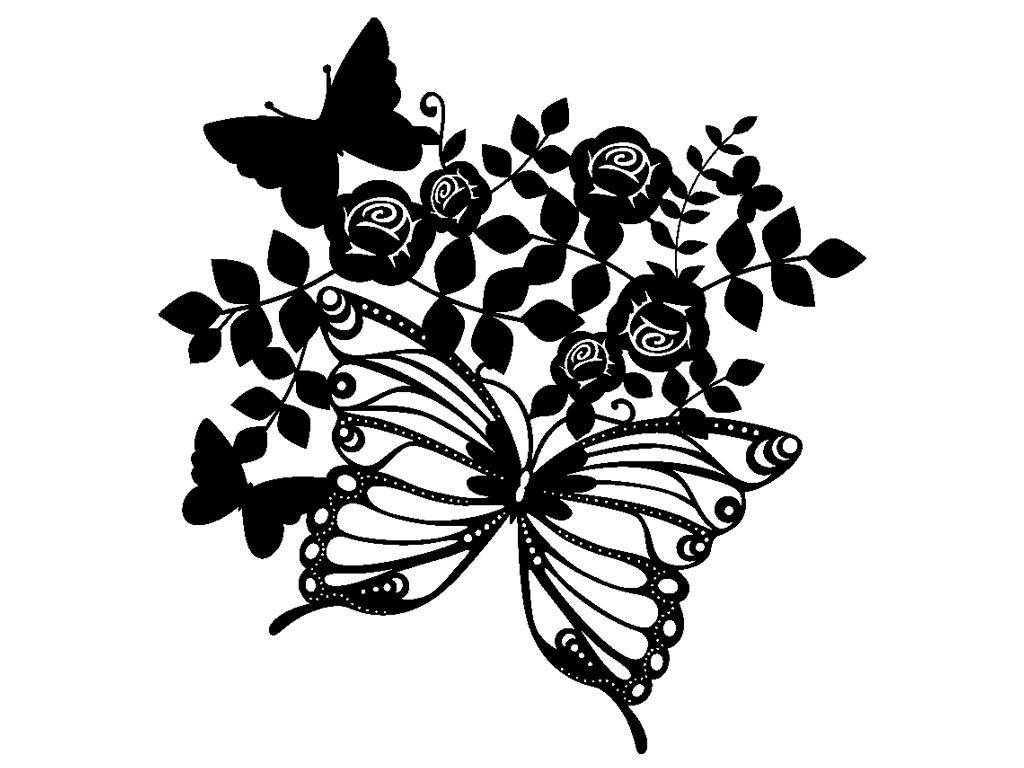 Šablons Marabu Silhouette 30x30cm Butterflies & Roses