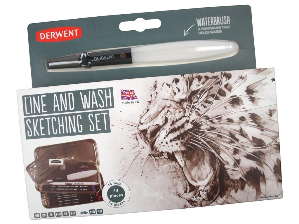 Eskizinių pieštukų komplektas Derwent Line and Wash 14vnt. metalinė dėžutė