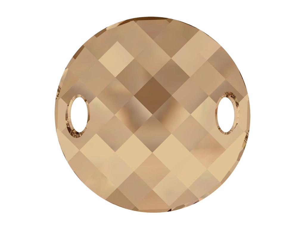 Krištolo karoliukai siuvinėjimui Swarovski apvalus plokščias 3221 28mm 001GSHA crystal golden shadow