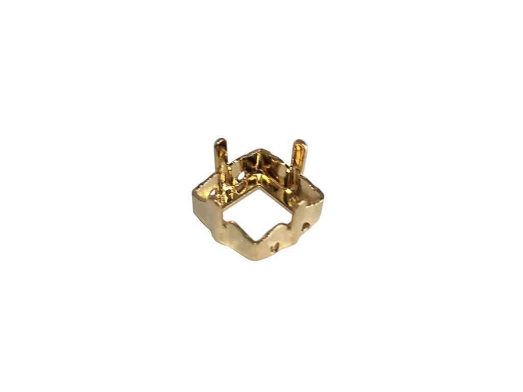 Kristāla akmeņa ietvars Swarovski kvadrāts 4428/S 8mm zelts ar 4 caurumiem