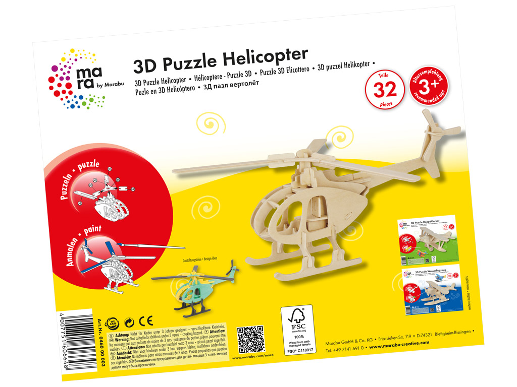 Wooden 3D puzzle Marabu Kids Helicopter 32 pieces