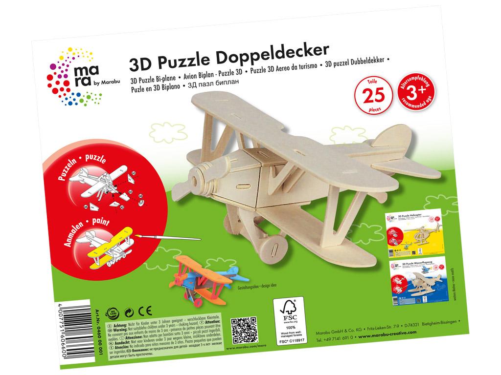 Wooden 3D puzzle Marabu Kids Bi-plane 25 pieces