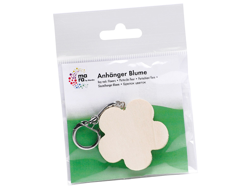 Wooden key ring Marabu Kids flower h=5.5cm blister