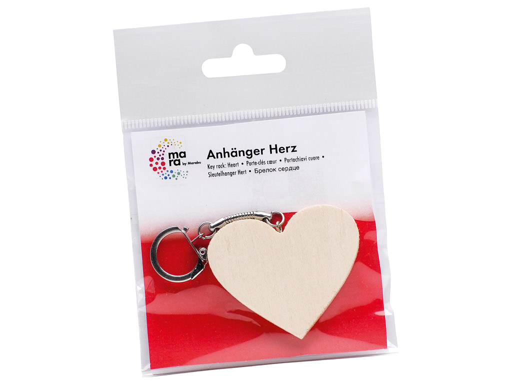 Wooden key ring Marabu Kids heart h=5cm blister