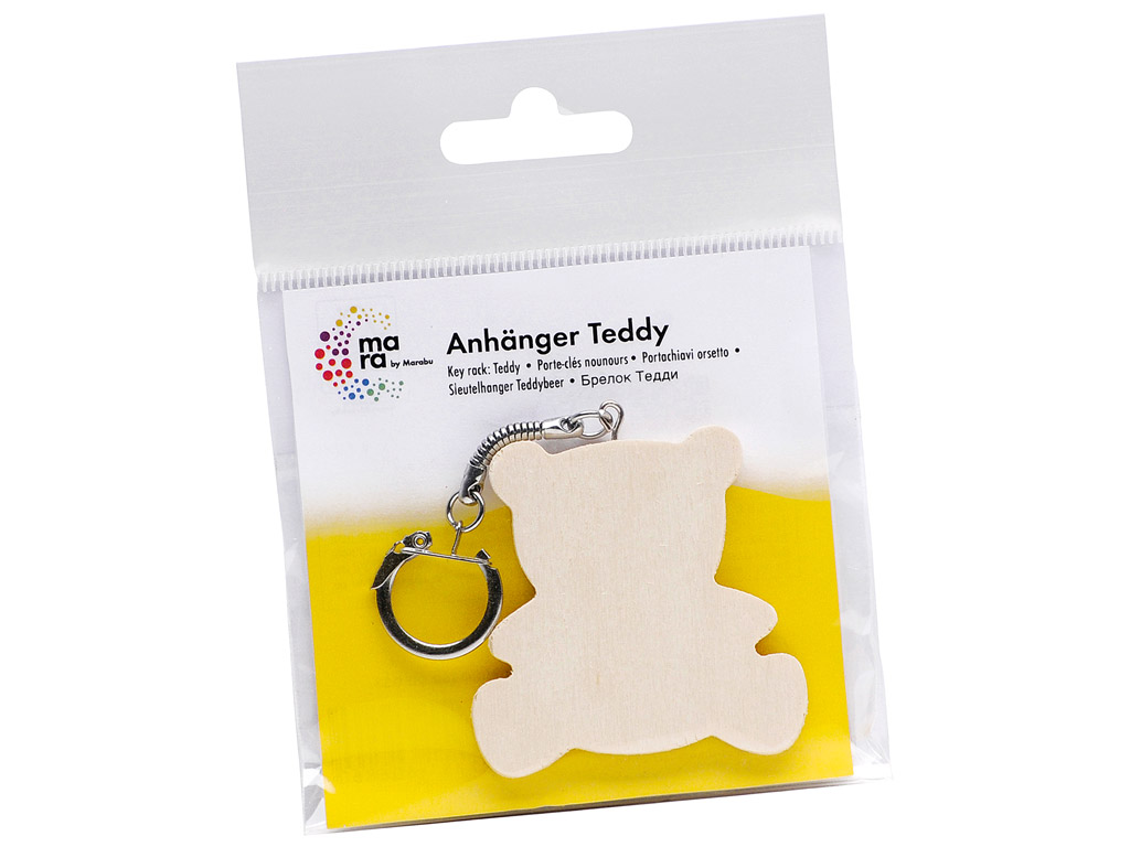 Wooden key ring Mara teddy h=6cm blister