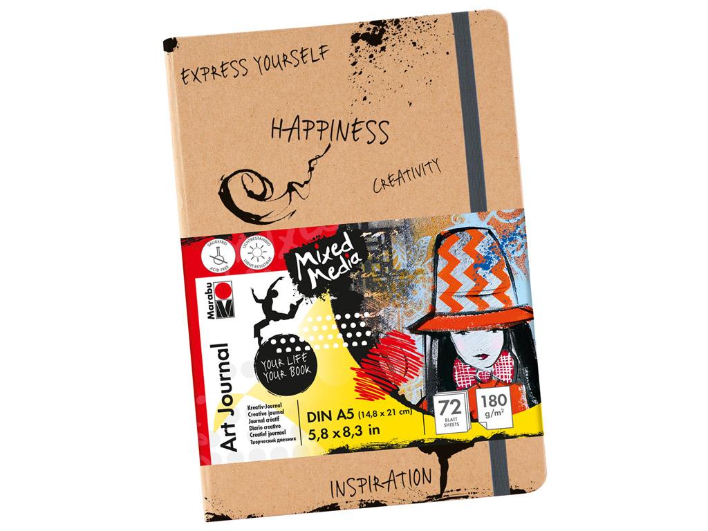 Skiču albums Marabu Art Journal A5/180g 72 lapas ar gumiju