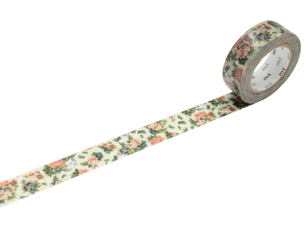 Washi līmlente mt ex 15mmx10m mini flower botanical art