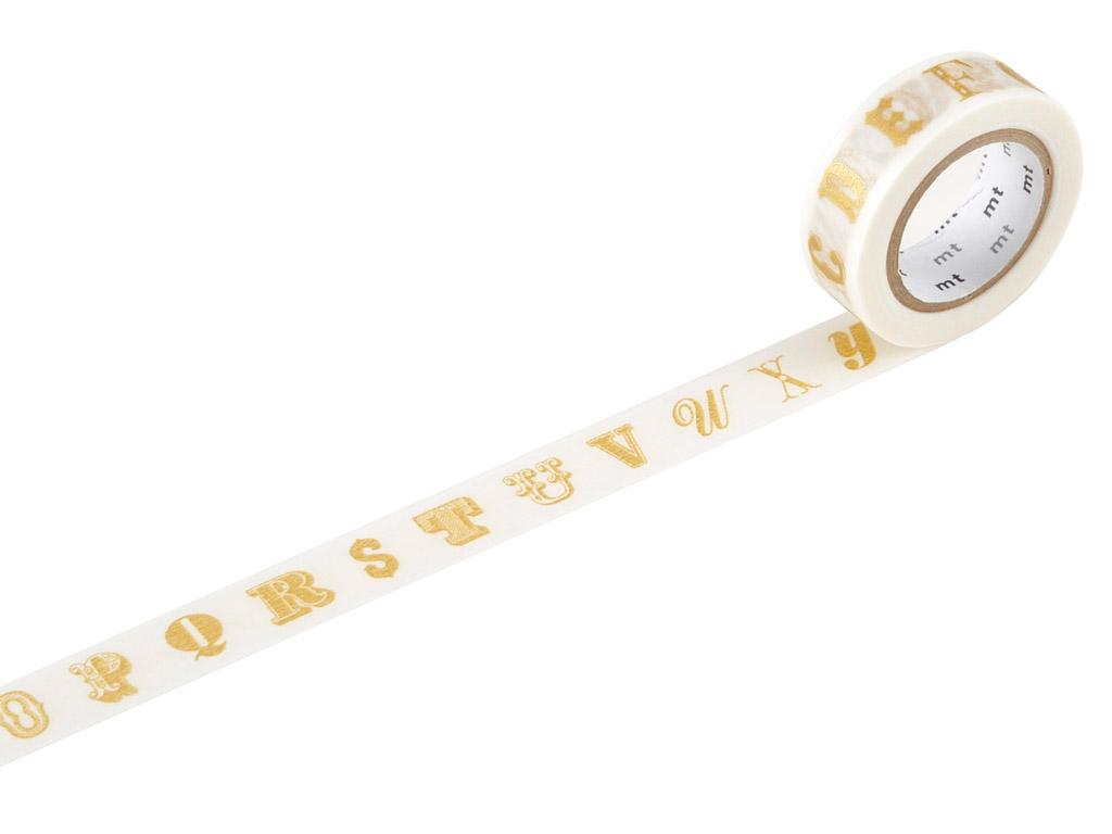 Washi dekoratyvi lipni juostelė mt ex 15mmx10m alphabet gold R