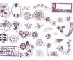 Zīmogs Aladine Stampo Scrap 34gab. Flowers + zīmoga spilventiņš melna