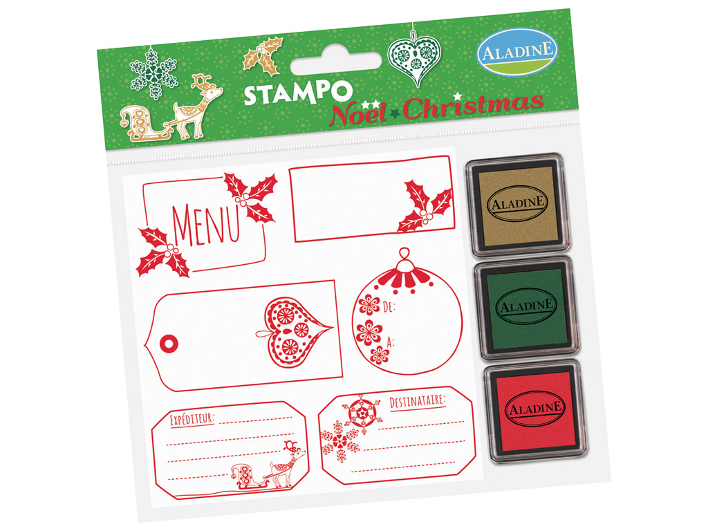 Stamp Aladine Stampo Christmas 6pcs Labels + 3 ink pads blister