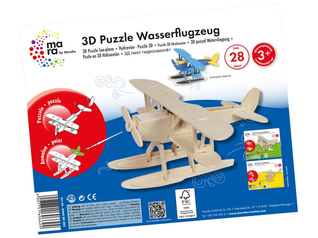 Wooden 3D puzzle Marabu Kids Hydroplane 28 pieces