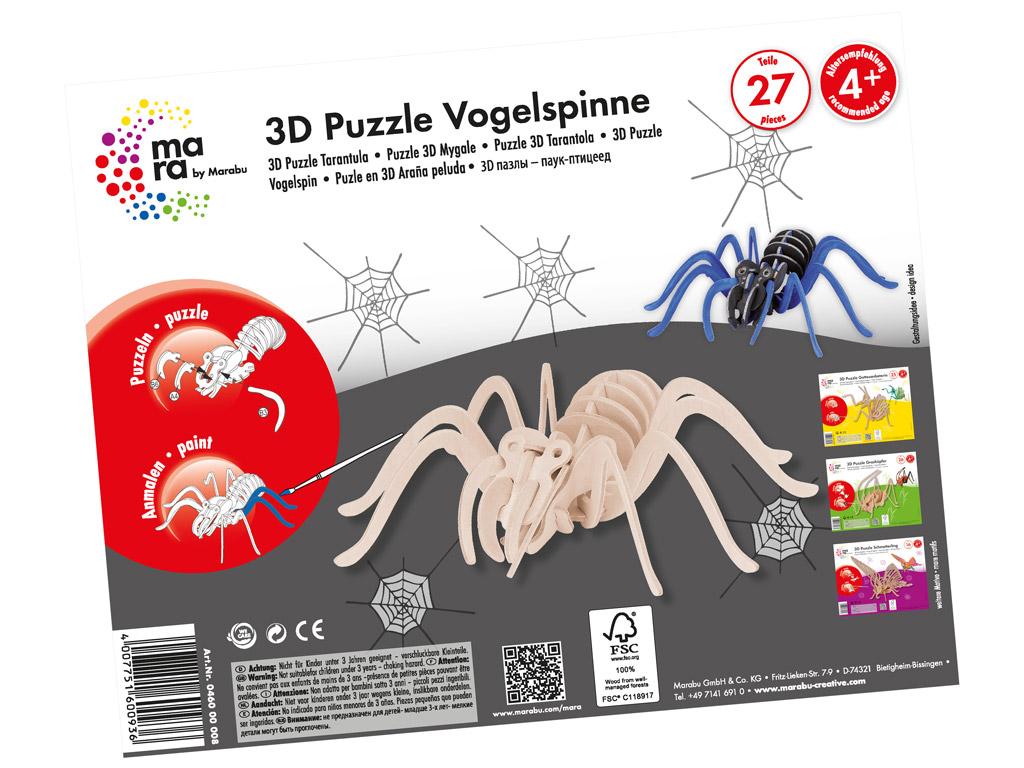 Wooden 3D puzzle Mara Tarantula 27 pieces