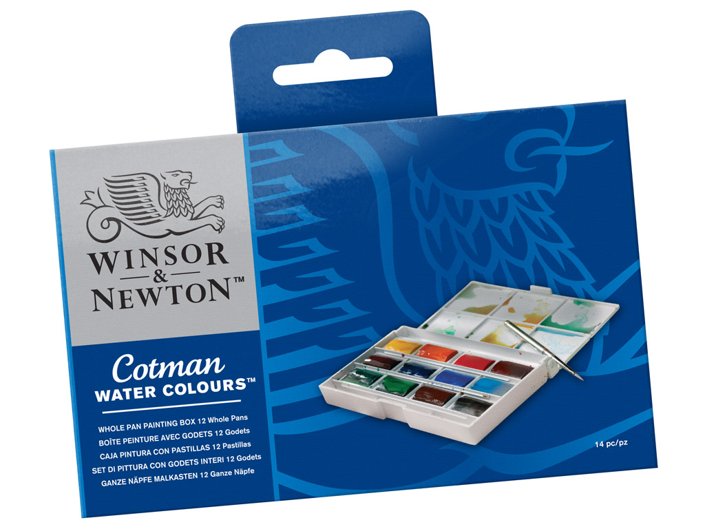 Cotman Water Colour Whole Pan Set 12pcs plastic box