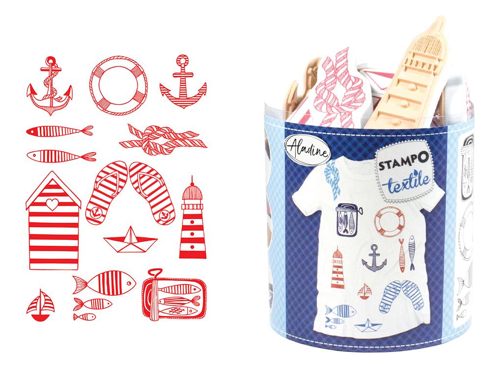 Tempel Aladine Stampo Textile 13tk Navy + templipadi must