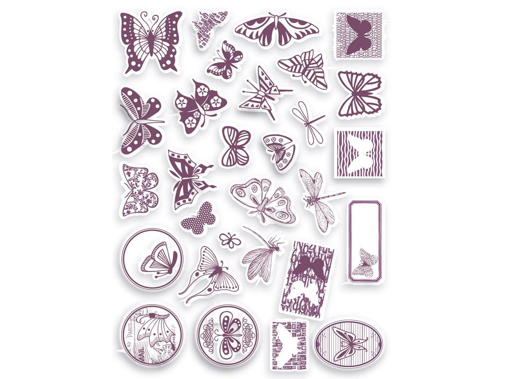 Spaudas Aladine Stampo Scrap 29vnt. Butterfly + pagalvėlė antspaudams juoda