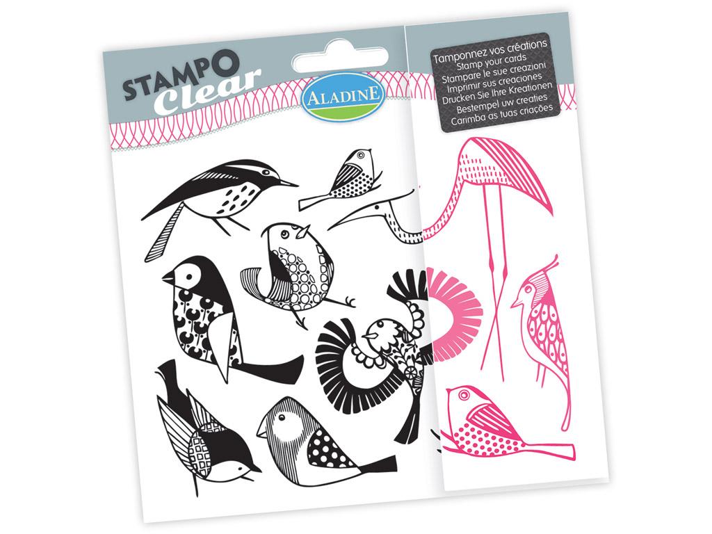 Spaudas silikone Aladine Stampo Clear 10vnt.  Birds blister.