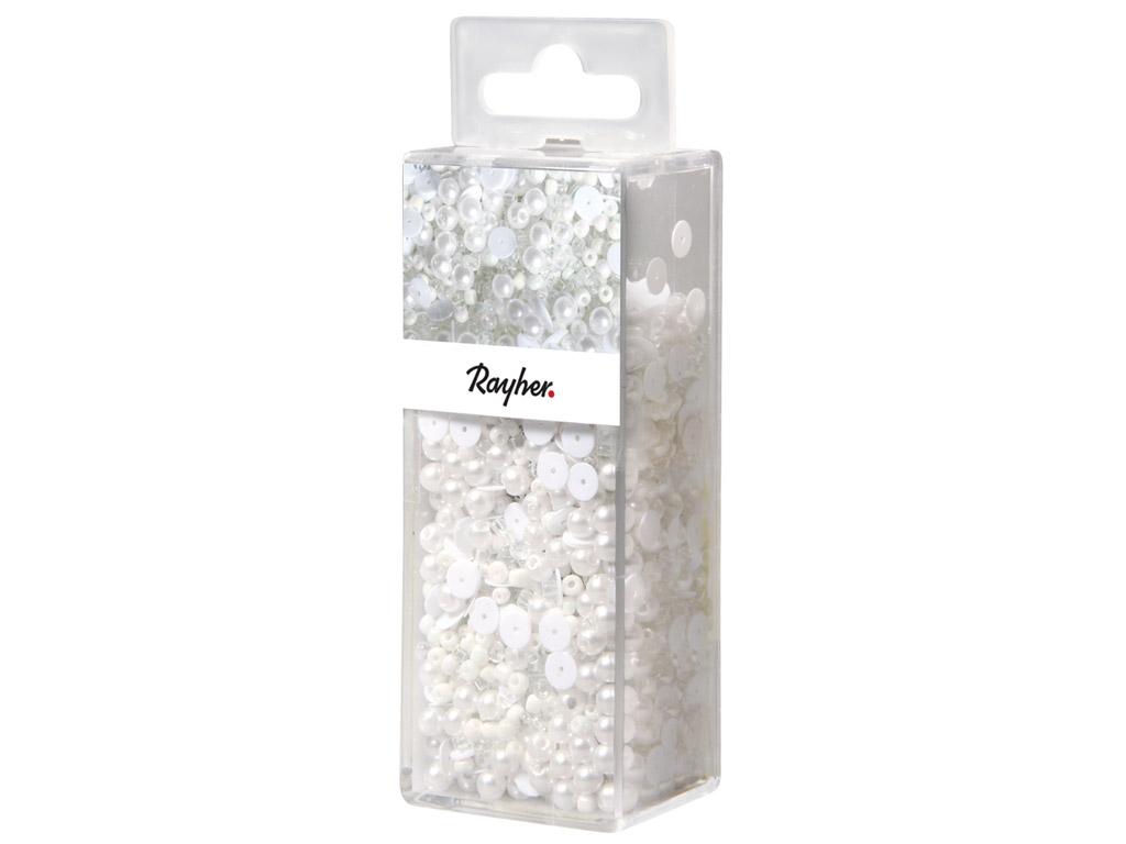 Vizuļi mazgājami Rayher balta 80g+ttikla pērlītes+stieple 0.3mm 50m