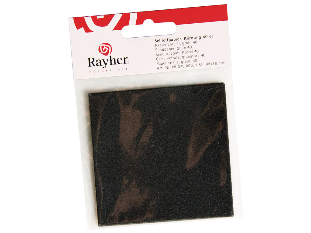 Smilšpapīrs Rayher P400 86x86mm 3gab. blisterī
