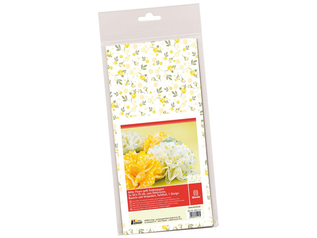Tissue paper 50x70cm 5 sheets Mille Fleurs roses yellow