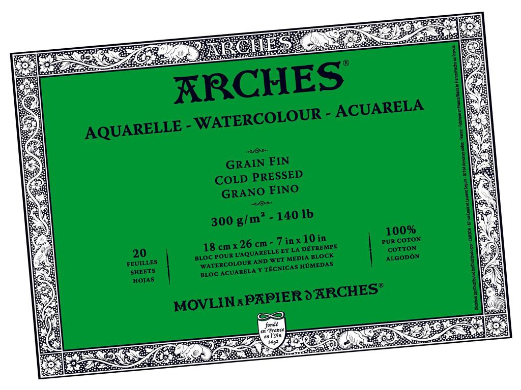 Akvarellplokk Arches 18x26cm/300g 20 lehte liimitud küljed keskmine korn