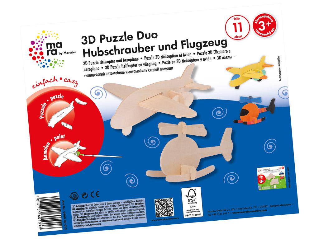 3D puzle koka Mara Helicopter&Aeroplane 11 daļas