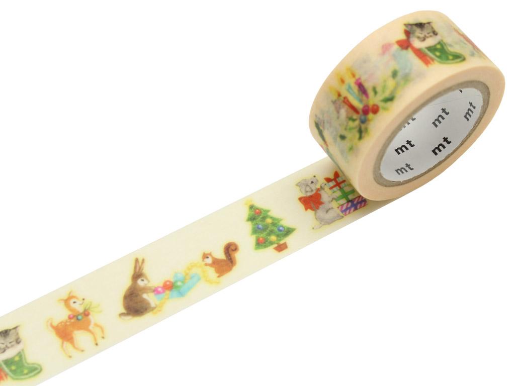 Washi dekoratyvi lipni juostelė mt Kalėdos 20mmx7m christmas animals