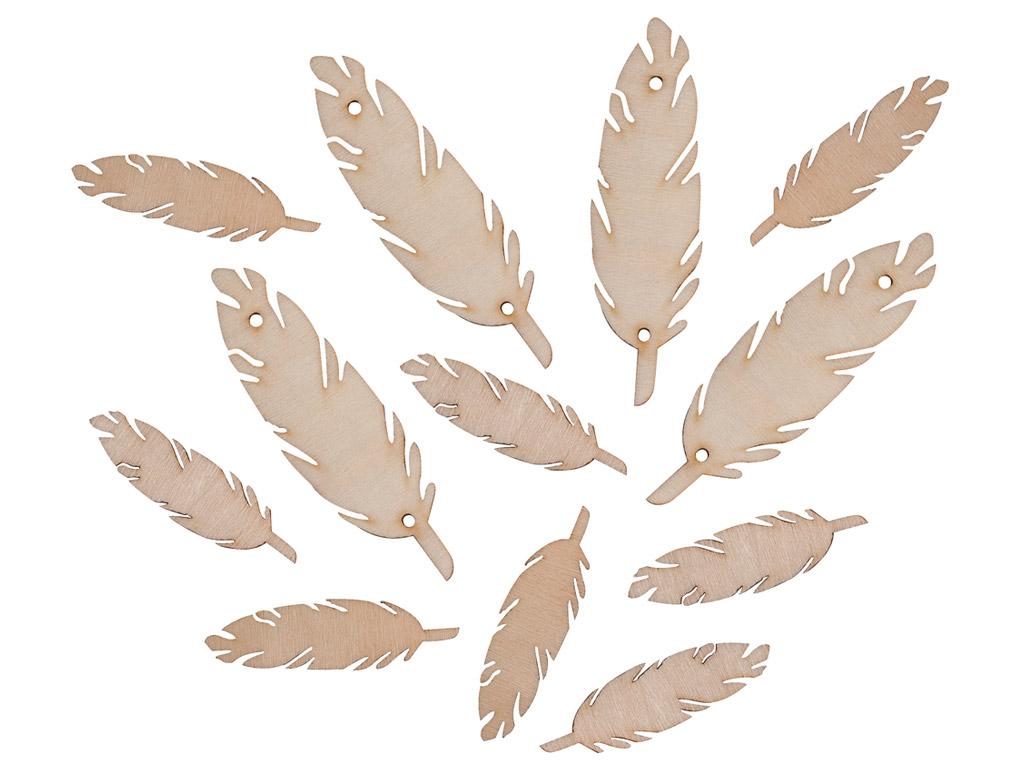 Wooden feathers 7-4cm 12pcs