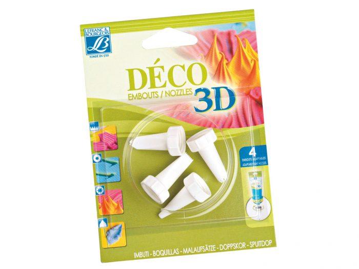 Acrylic Cream Deco 3D nozzles 4pcs - 1/2