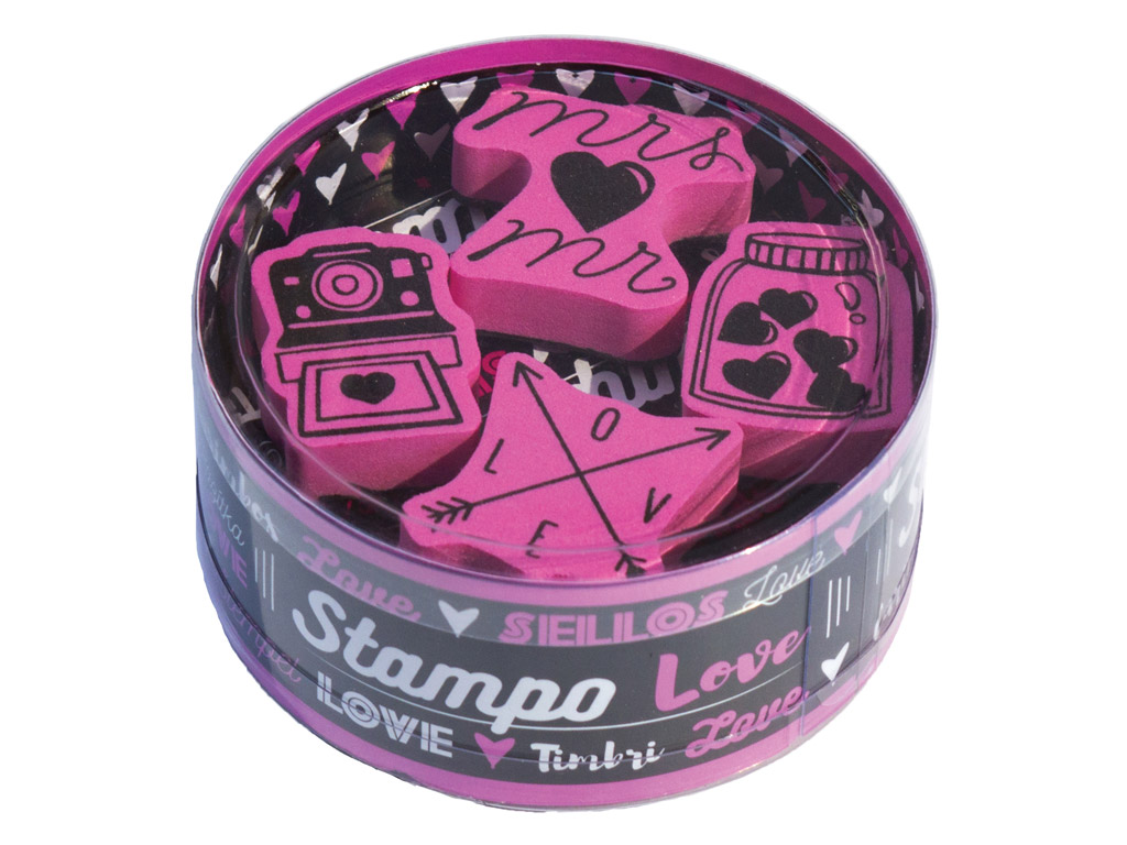 Stamp Aladine Stampo KDO 4pcs Love + ink pad black