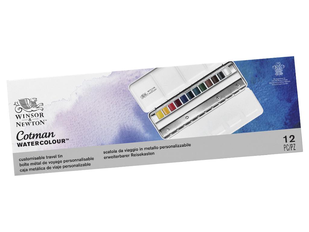 Akvareliniai dažai Cotman Blue Box 12x1/2 kubelių metalinė dėžutė