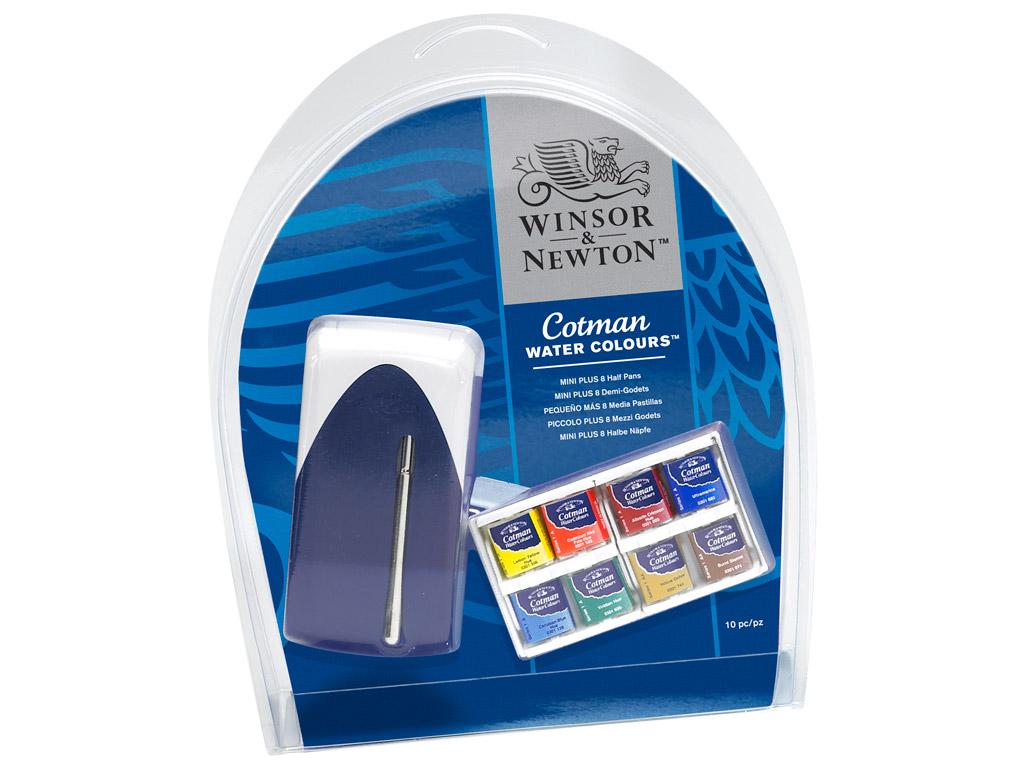 Akvareļkrāsas Cotman Mini Plus 8x1/2 kubiņi+ota plastikāta kastē