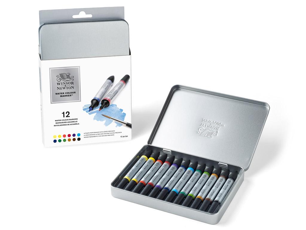 Akvarelinis markeris W&N 12vnt. metalinė dėžutė