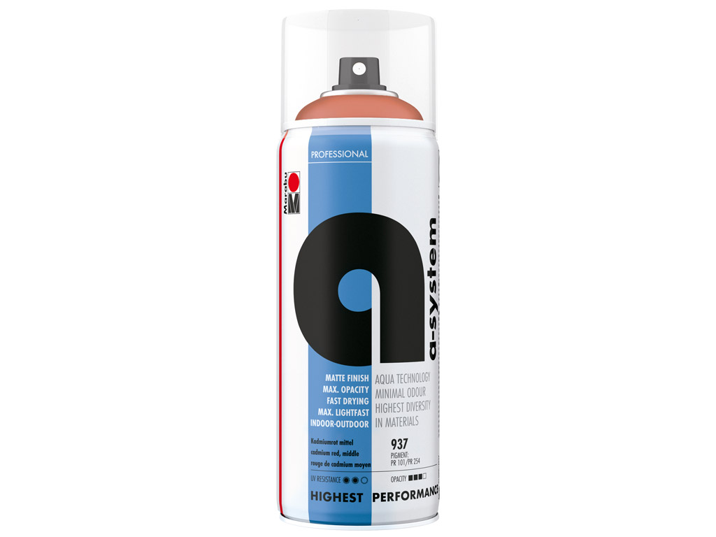 Krāsa aerosolā a-system 400ml 937 cadmium red middle